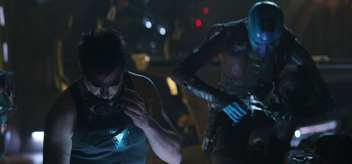 Robert Downey Jr. as Tony Stark and Karen Gillan as Nebula in Avengers: Endgame