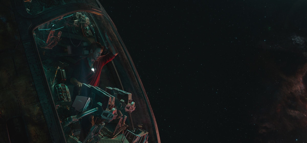 Robert Downey Jr. as Toney Stark/Iron Man in space ship in Avengers: Endgame