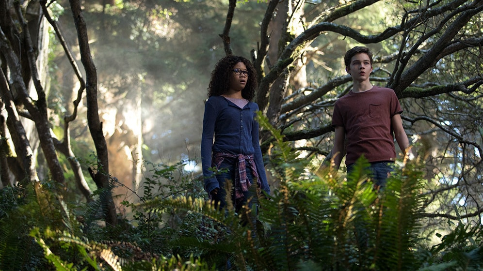 Storm Reid as Meg Murry and Levi Miller as Calvin in A Wrinkle in Time.