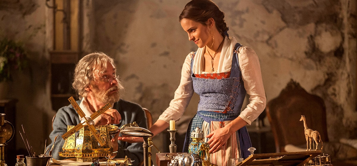 """Kevin Kline (as Maurice) and Emma Watson (as Belle) in their home  in """"Beauty and the Beast"""""""