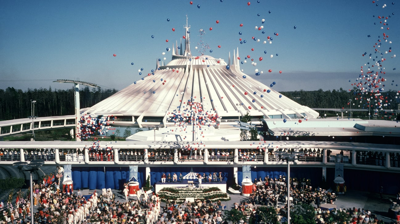 Image of Space Mountain with balloons.