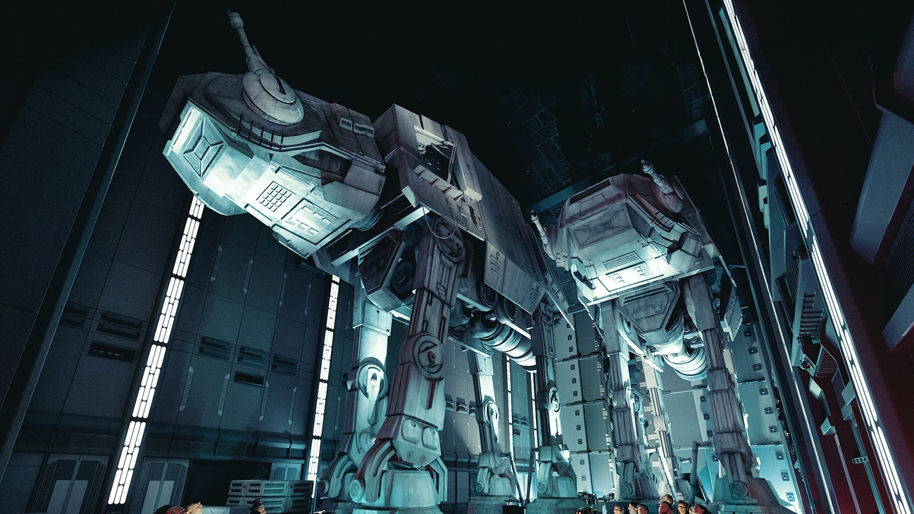 Image of two Imperial walkers in the Star Wars: Rise of the Resistance ride at Star Wars: Galaxy's Edge.