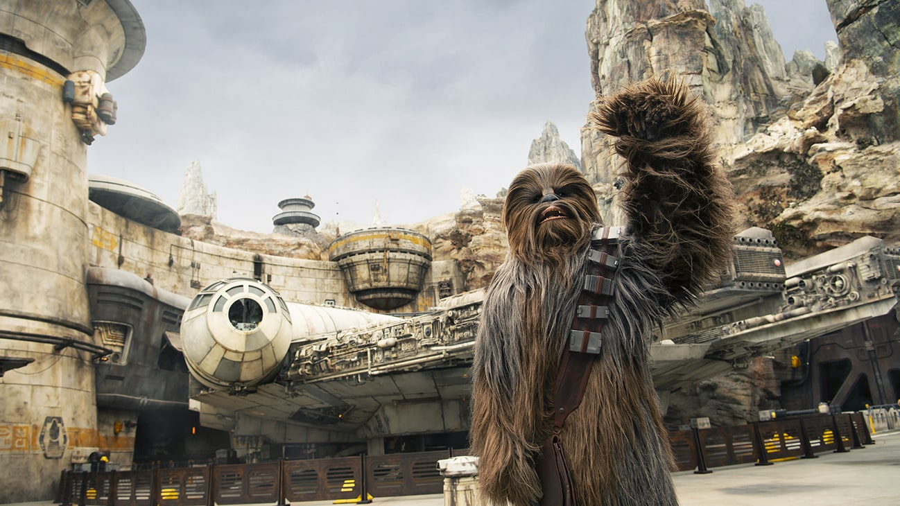 Image of Chewbacca in front the Millenium Falcon at Star Wars: Galaxy's Edge.