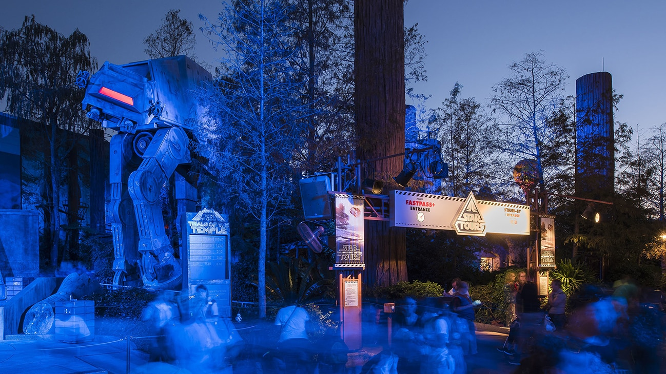 Image of an Imperial walker at the Star Tours entrance.