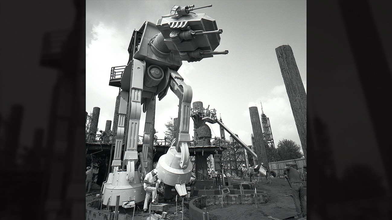 Image of the Imperial walker being built.