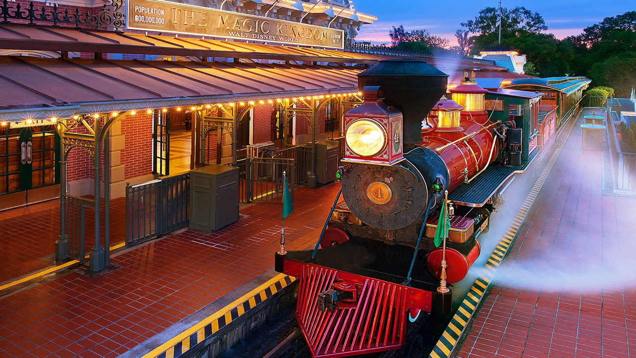 Image of a the Disney train locomotive at the station.