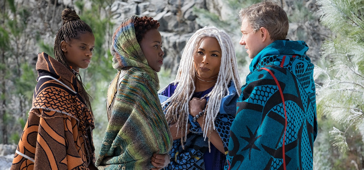 Letitia Wright as Shuri, Lupita Nyong'o as Nakia, Angela Bassett as Ramonda, and Martin Freeman as Everett K. Ross