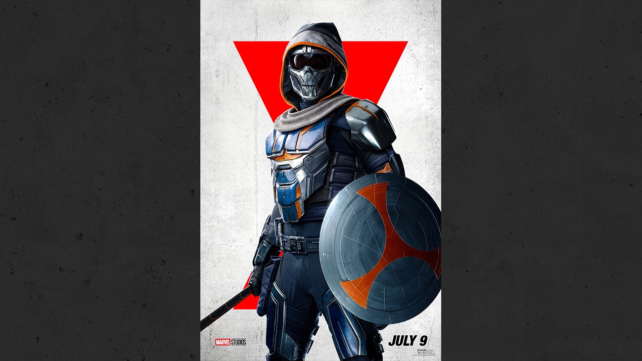 Taskmaster carrying a shield and sword from the Marvel Studios movie Black Widow. | July 9 | PG-13