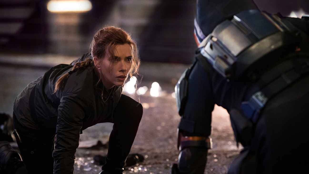 (L-R): Black Widow/Natasha Romanoff (Scarlett Johansson) and Taskmaster in Marvel Studios' BLACK WIDOW, in theaters and on Disney+ with Premier Access. Photo by Jay Maidment. ©Marvel Studios 2021. All Rights Reserved.