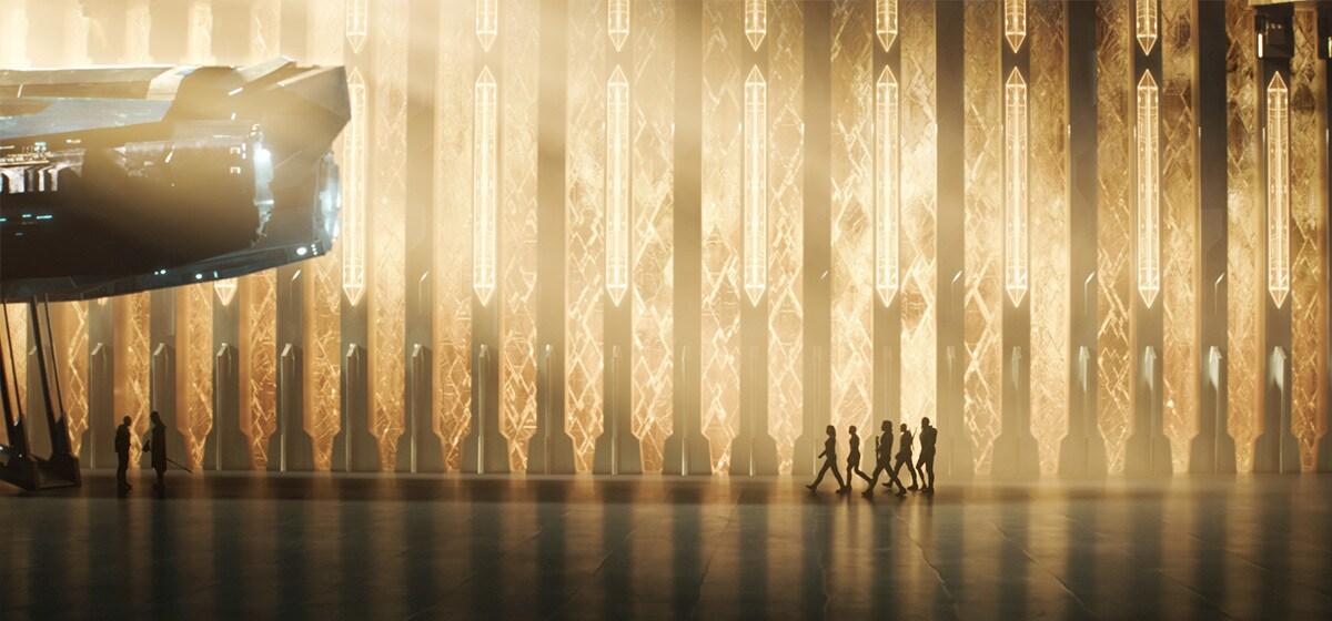 Kree Starforce walks toward a spaceship in Marvel Studios' Captain Marvel