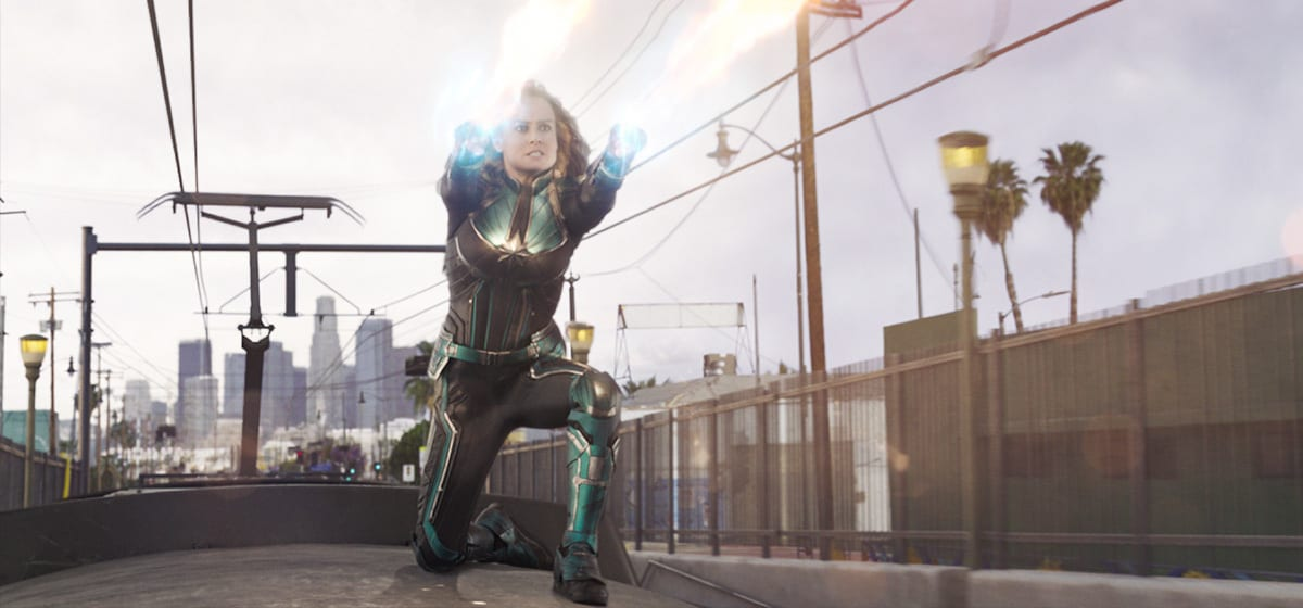 Brie Larson (Captain Marvel) using her powers in Marvel Studios' Captain Marvel