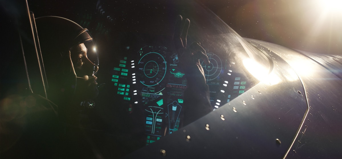 Brie Larson (Captain Marvel) sitting in a cockpit in Marvel Studios' Captain Marvel