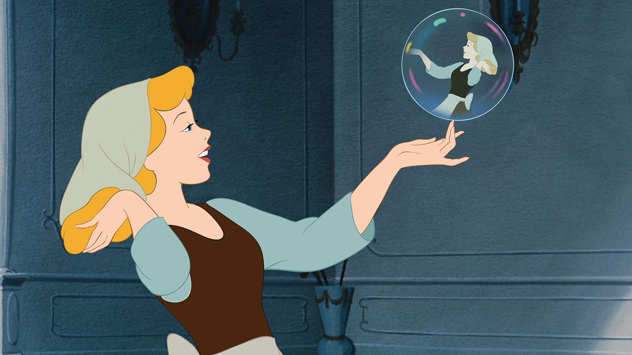 Cinderella making the most of doing her chores.