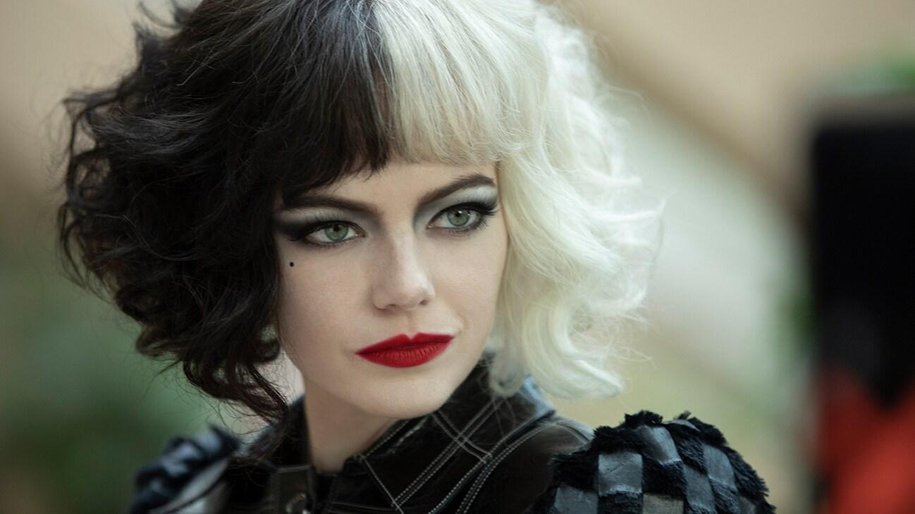 Emma Stone as Cruella from the Disney movie Cruella.