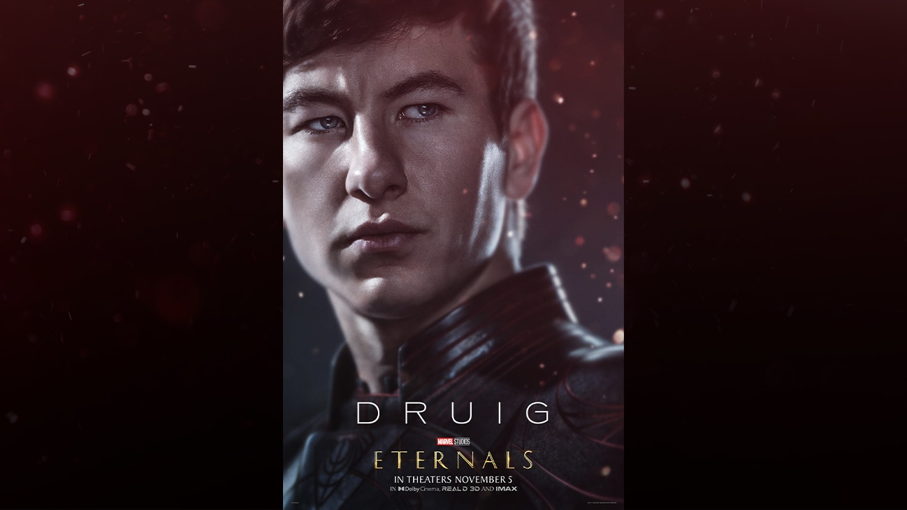 Druig (actor Barry Keoghan) | Marvel Studios | Eternals | In theaters November 5 | In Dolby Cinema, REAL D 3D and IMAX | movie poster