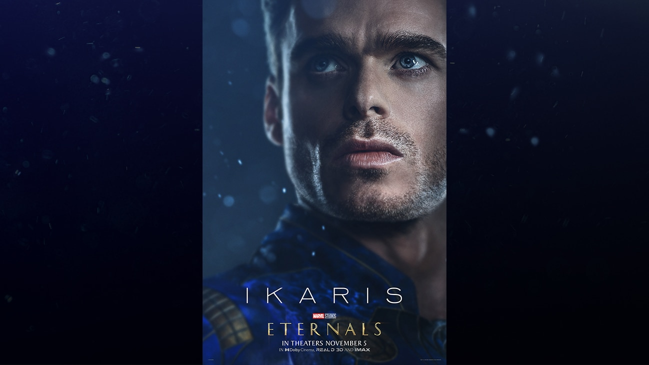 Ikaris (actor Richard Madden) | Marvel Studios | Eternals | In theaters November 5 | In Dolby Cinema, REAL D 3D and IMAX | movie poster