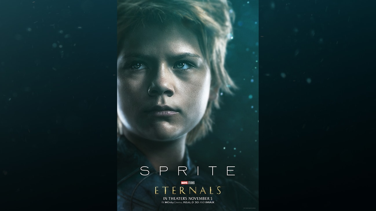 Sprite (actor Lia McHugh) | Marvel Studios | Eternals | In theaters November 5 | In Dolby Cinema, REAL D 3D and IMAX | movie poster