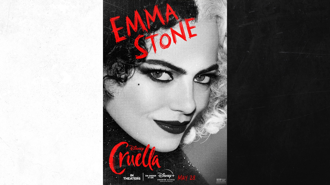 Emma Stone as Cruella from the Disney movie Cruella | In Theaters or order it on Disney+ with Premier Access May 28. Additional fee required.