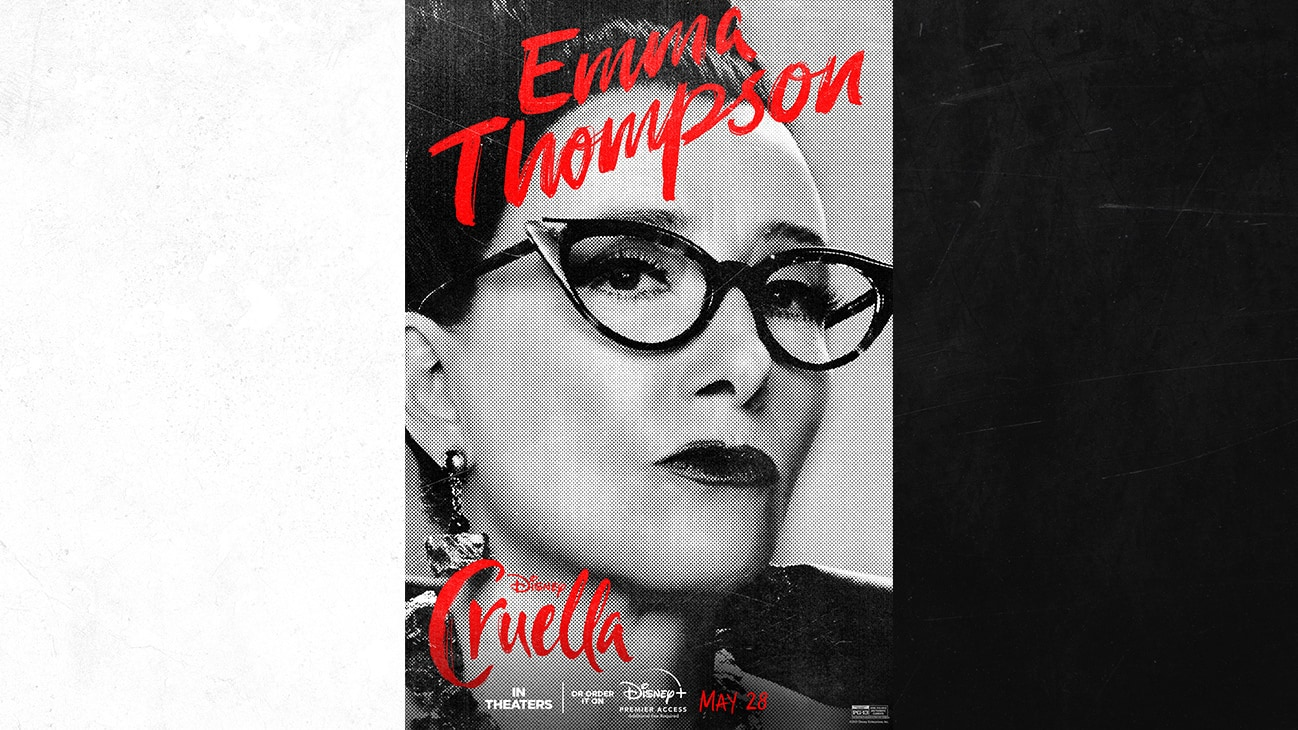 Emma Thompson as The Baroness from the Disney movie Cruella | In Theaters or order it on Disney+ with Premier Access May 28. Additional fee required.