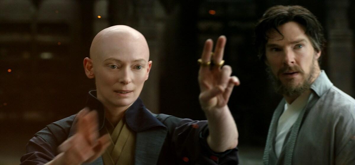 "Actors Benedict Cumberbatch (as Doctor Strange) and Tilda Swinton (as The Ancient One) in the Marvel Studios movie ""Doctor Strange"""