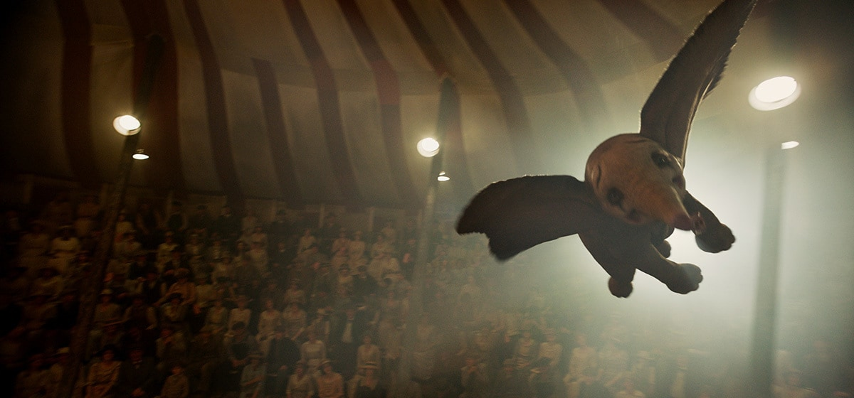 """Dumbo flies in the Medici Brothers Circus tent from the movie """"Dumbo"""""""