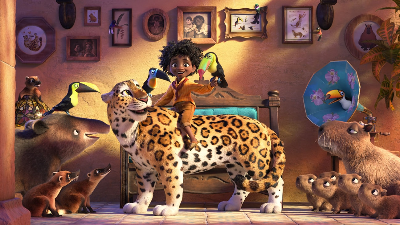 Image of a Antonio sitting on top of a cheetah from the Disney movie Encanto.