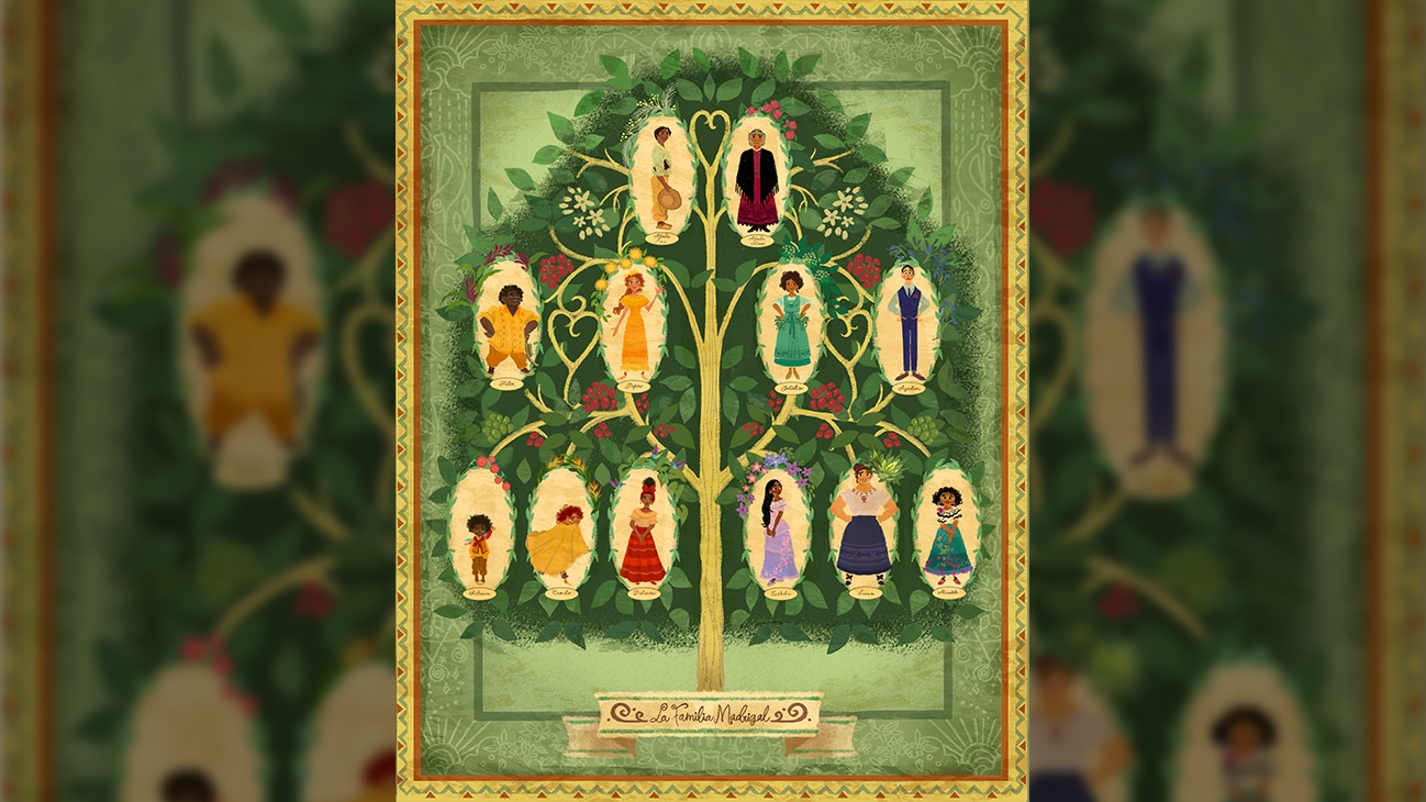 Image of a the Madrigal family tree from the Disney movie Encanto.