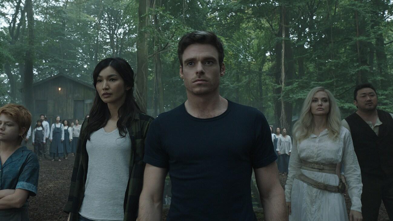 Thena (actor Angelina Jolie), Ikaris (actor Richard Madden), Sersi (actor Gemma Chan), Gilgamesh (actor Ma Dong-seok), and Sprite (actor Lia McHugh) in the Marvel Studios movie Eternals.