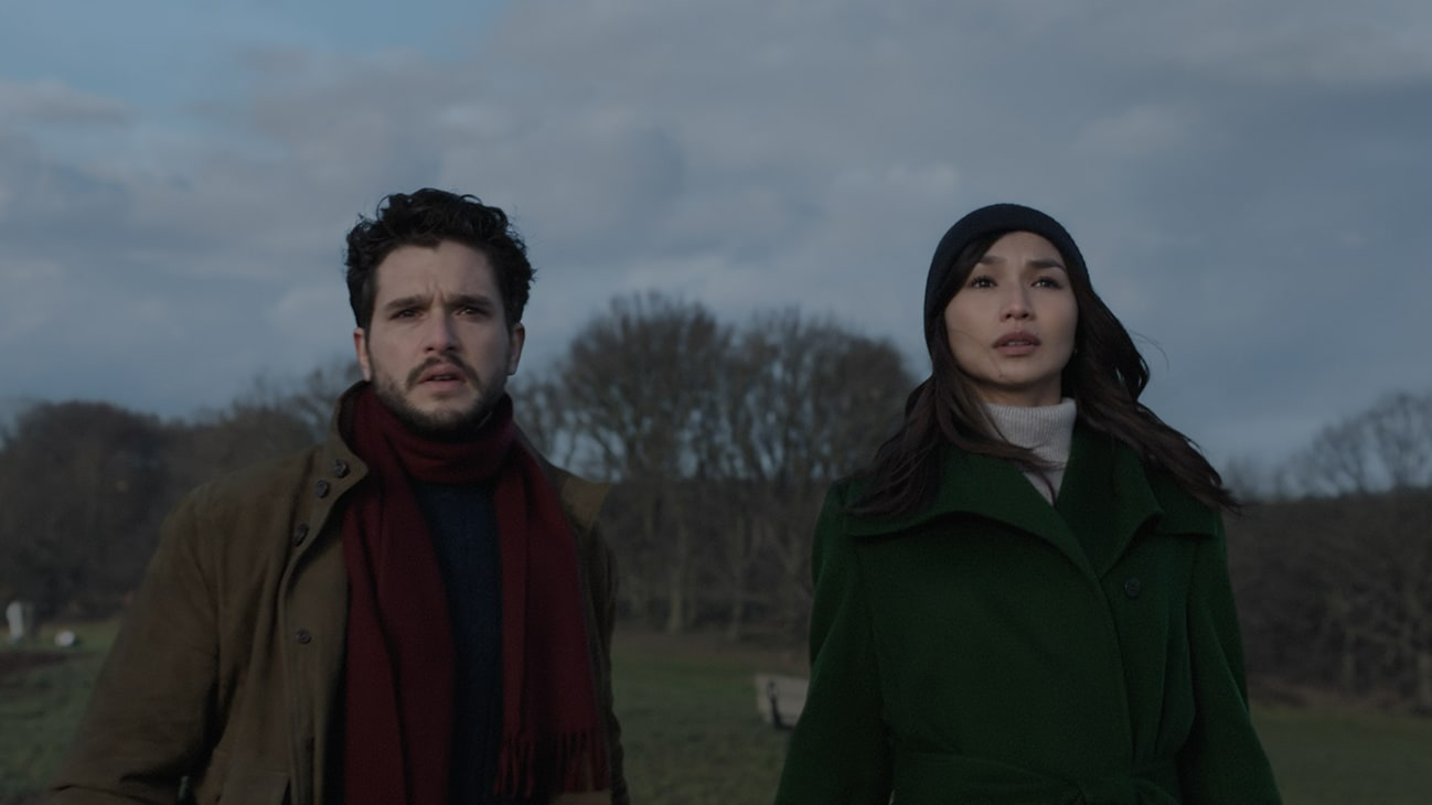 Dane Whitman (actor Kit Harington) and Sersi (actor Gemma Chan) from the Marvel Studios movie Eternals.