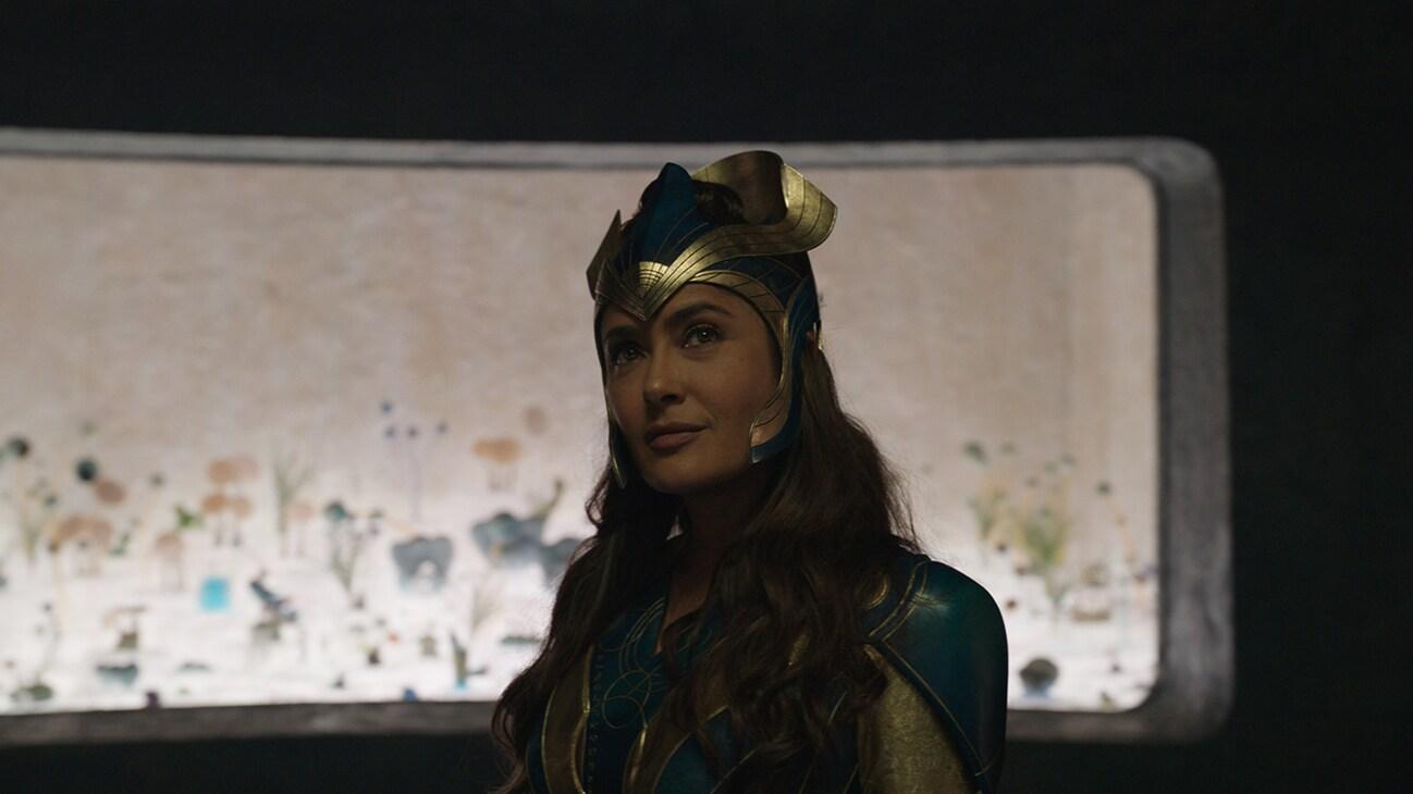 Ajak (actor Salma Hayek) from the Marvel Studios movie Eternals.