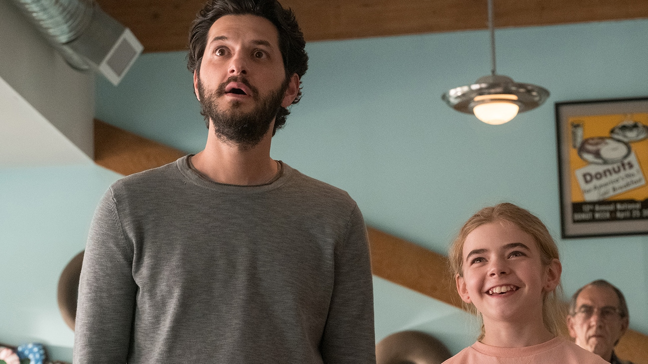 Ben Schwartz as George and Matilda Lawler as Flora in FLORA & ULYSSES, exclusively on Disney+.