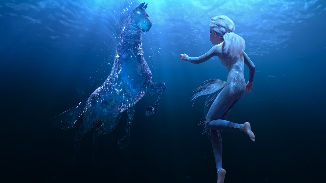 Elsa (voiced by Idina Menzel) encounters a Nokk—a mythical water spirit that takes the form of a horse in Frozen 2