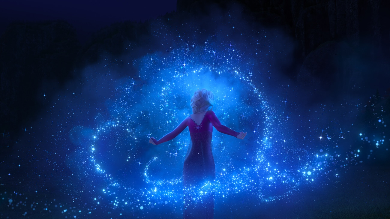 Elsa, voiced by Idina Menzel, using her powers in Frozen 2
