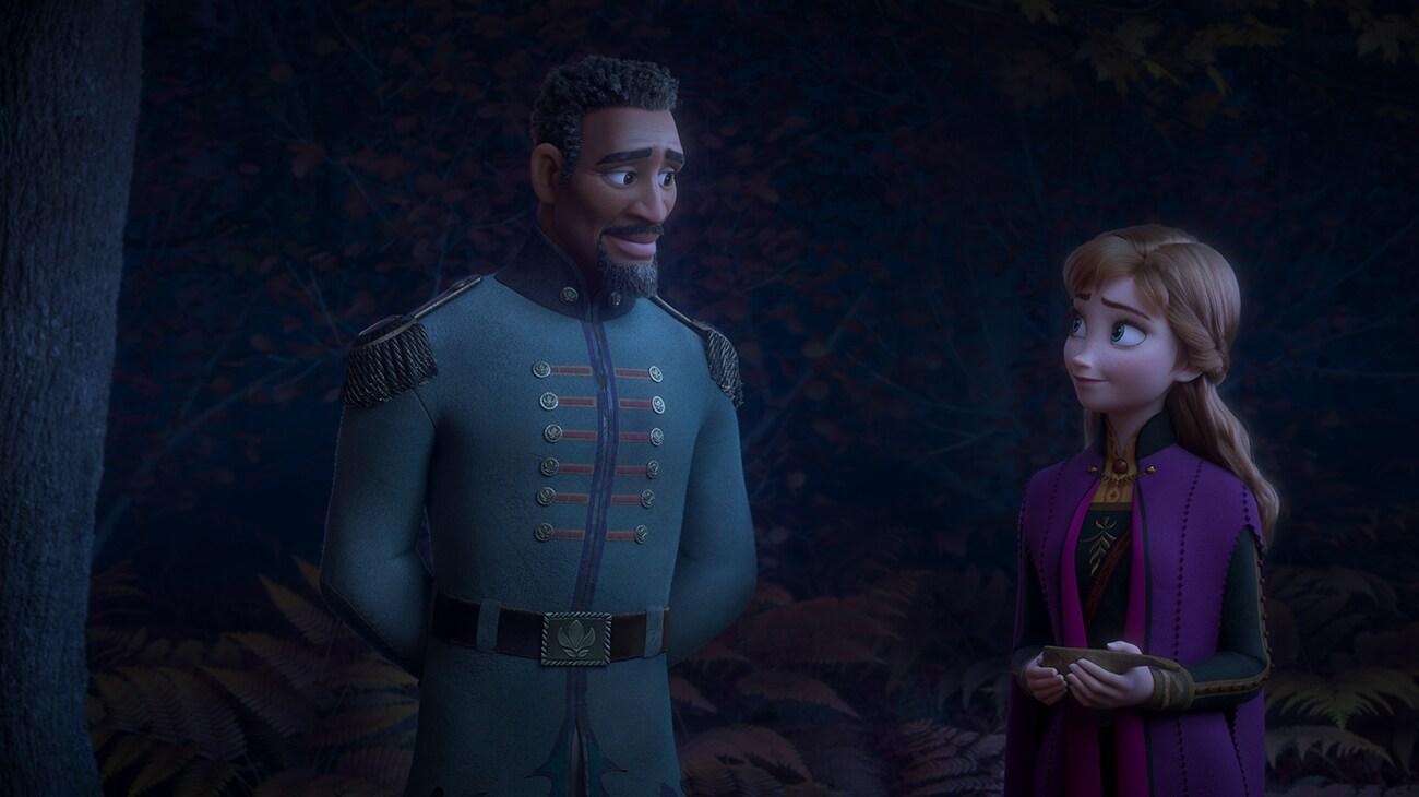 Lieutenant Destin Mattias, voiced by Sterling K Brown, and Anna, voiced by Kristen Bell, in Frozen 2.