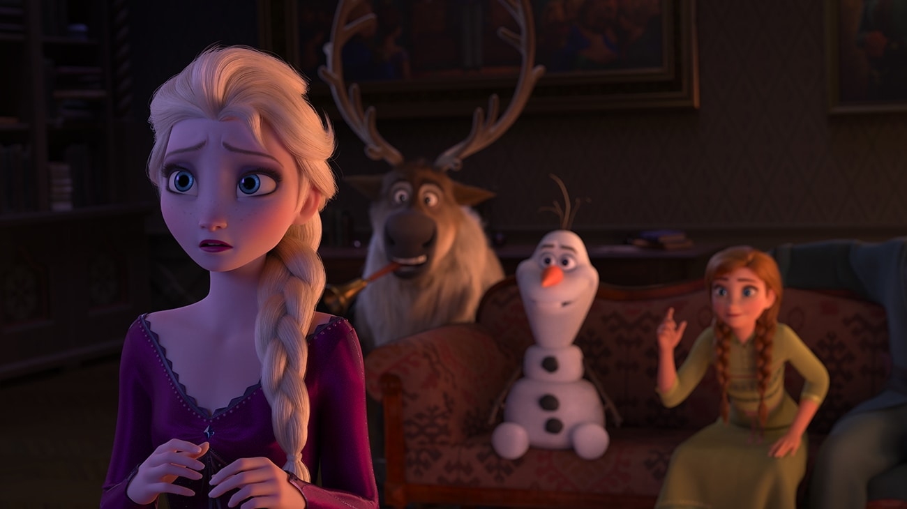 Elsa (voiced by Idina Menzel), Anna (voiced by Kristen Bell), Olaf (voiced by Josh Gad), and Sven in Frozen 2