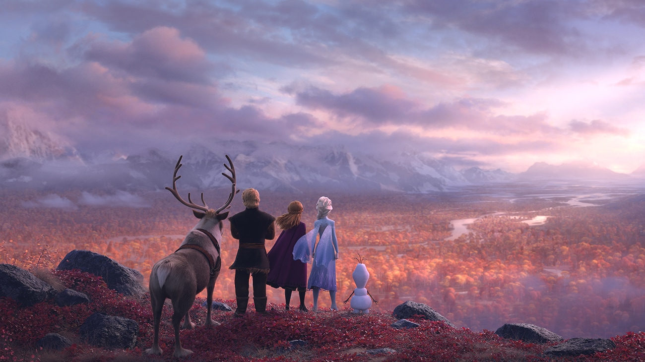 Elsa (voiced by Idina Menzel), Anna (voiced by Kristen Bell), Kristoff (voiced by Johnathan Groff), Olaf (voiced by Josh Gad), and Sven overlook the fjord in Frozen 2.