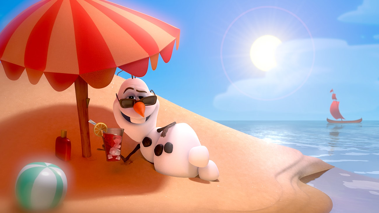 Olaf (voiced by Josh Gad) relaxing on a beach under and umbrella with an iced tea in hand in the movie Frozen