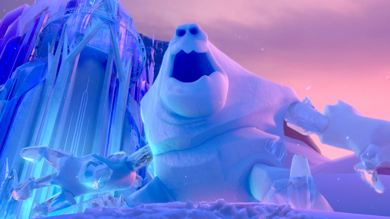 Marshmallow in front of the ice castle in Frozen