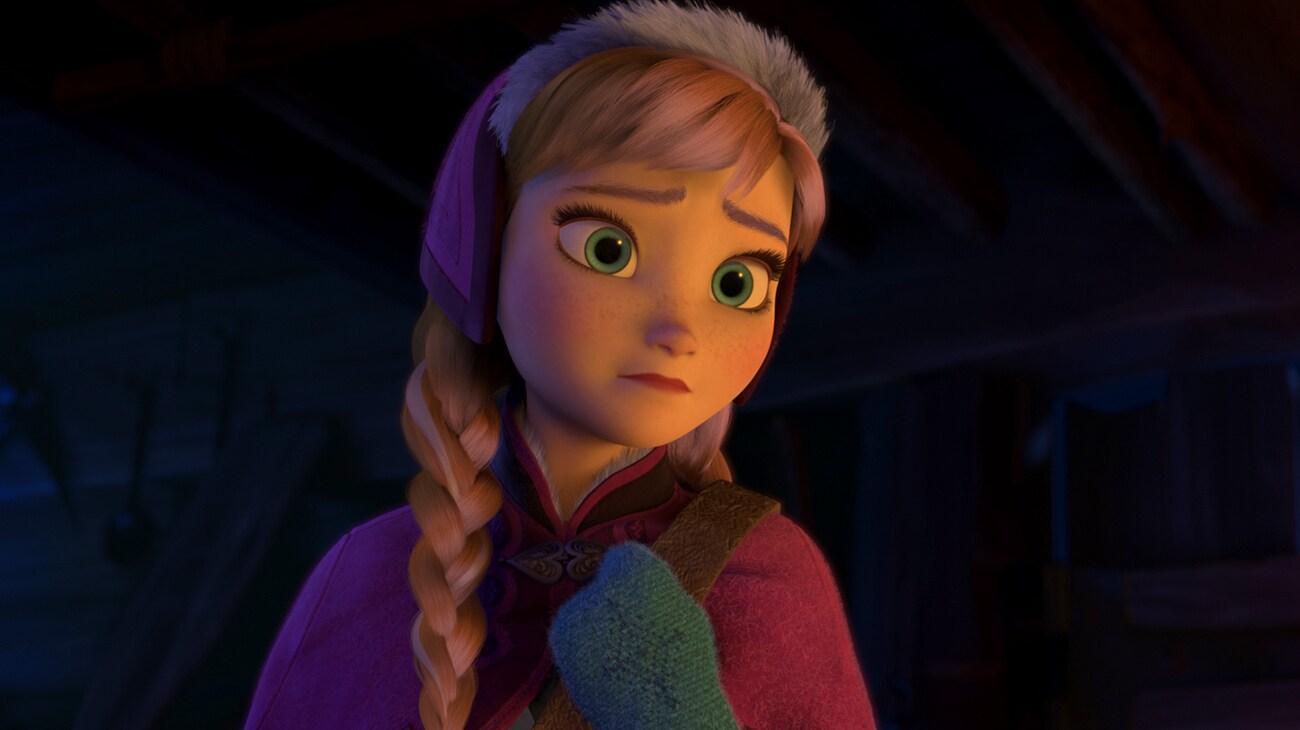 Anna (voiced by Kristen Bell) looking sad in Frozen