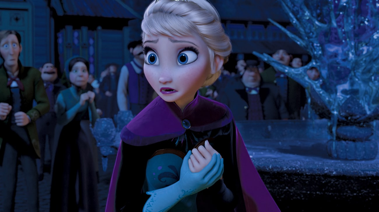 Elsa (voiced by Idina Menzel) in her crown, looking around at the town after using her powers, in Frozen