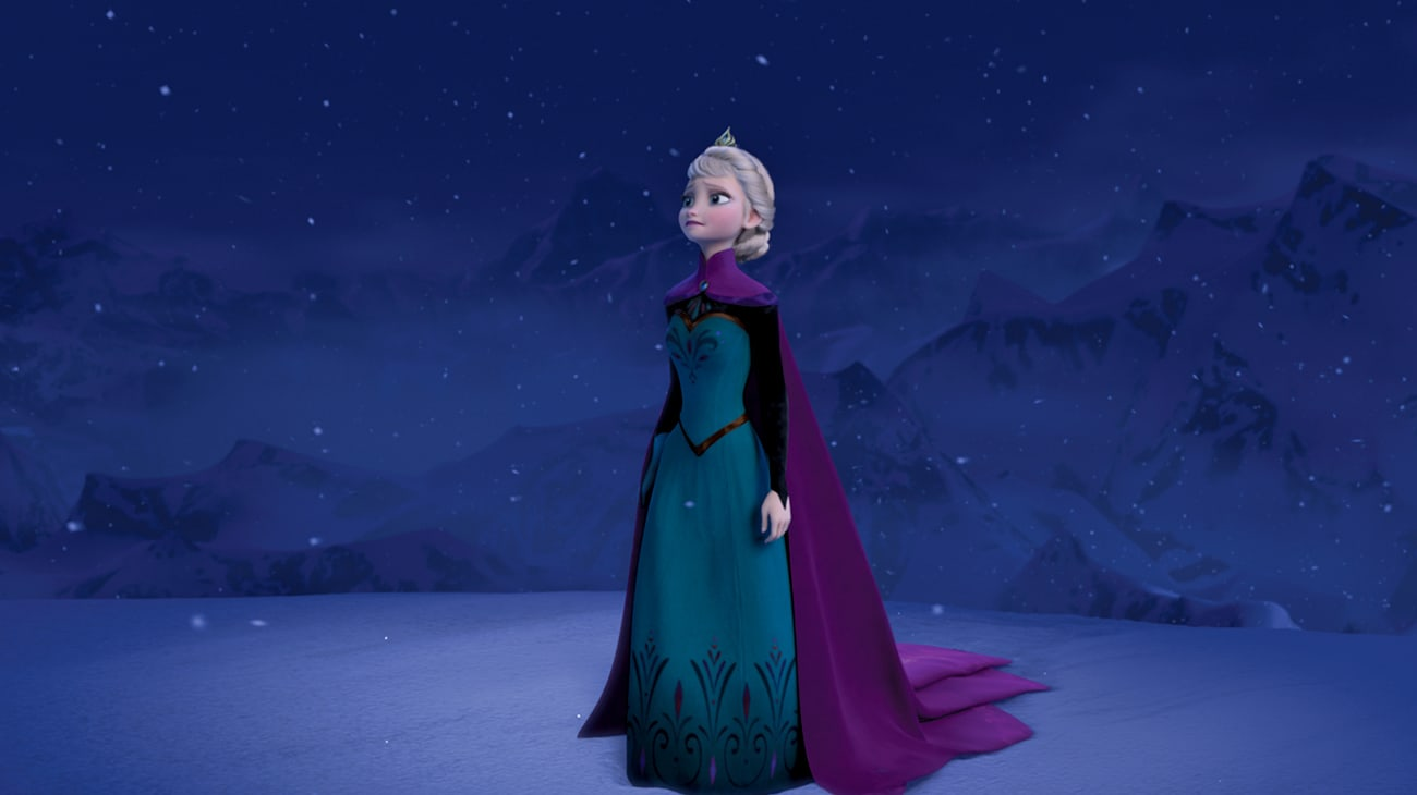 Elsa (voiced by Idina Menzel) looking up at the night sky on snowy night in Frozen