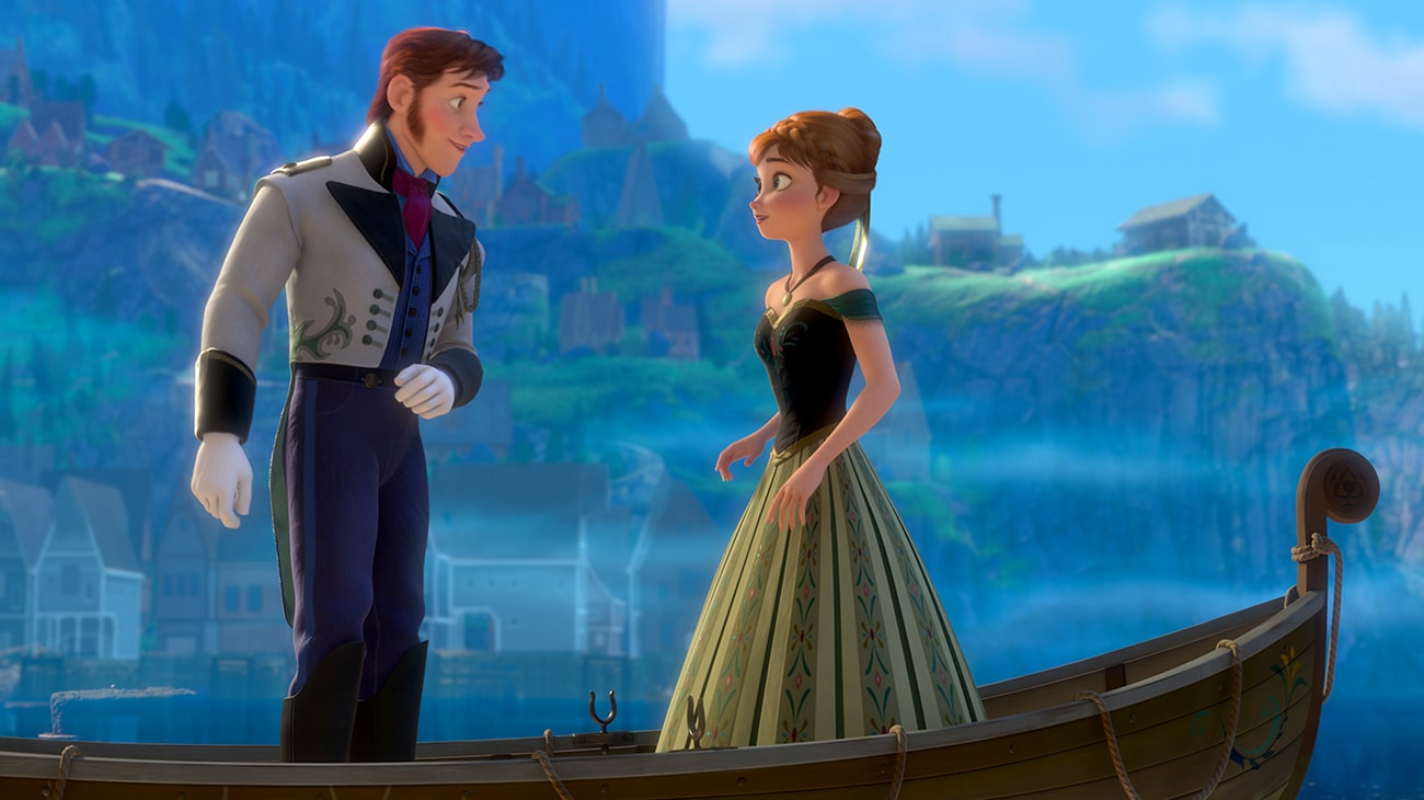 Hans (voiced by Santino Fontana) in a canoe with Anna (voiced by Kristen Bell) in the movie Frozen