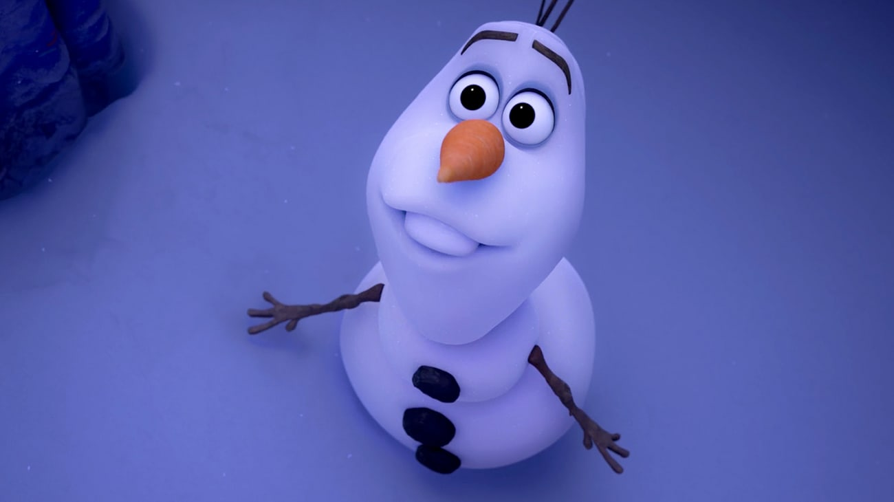 Olaf (voiced by Josh Gad) looking up to the sky in Frozen