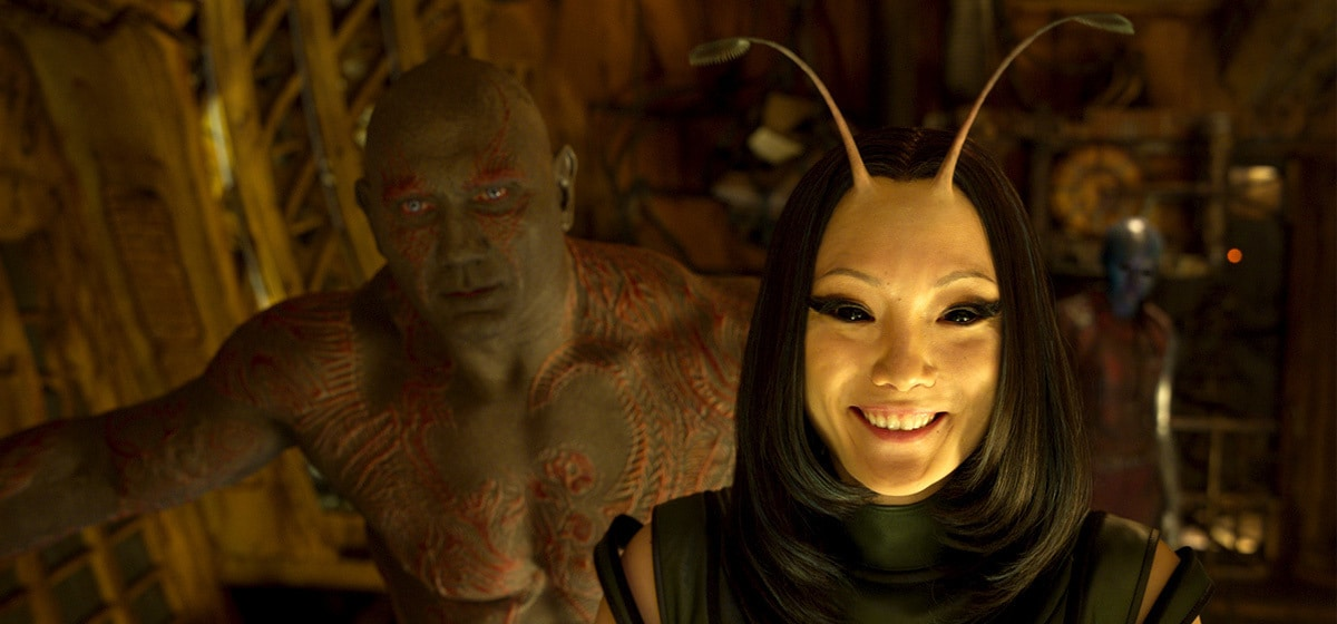 """Dave Bautista (Drax) and Pom Klementieff (Mantis) in """"Guardians of the Galaxy Vol. 2"""""""