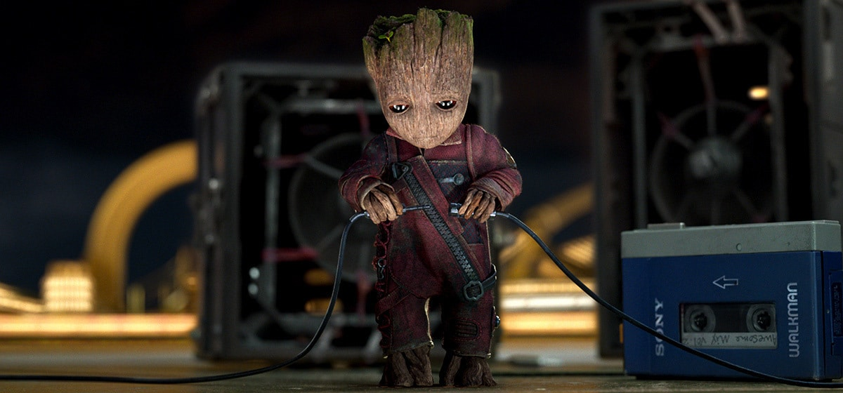 """Vin Diesel (Baby Groot) plugging in electrical equipment in """"Guardians of the Galaxy Vol. 2"""""""