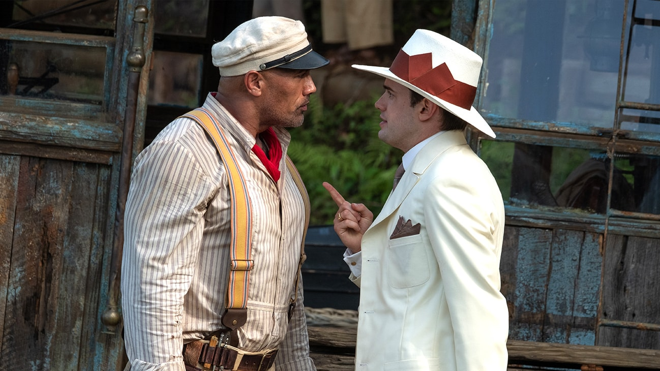"Frank Wolff (Dwayne Johnson) and MacGregor Houghton (Jack Whitehall) from the Disney movie ""Jungle Cruise""."