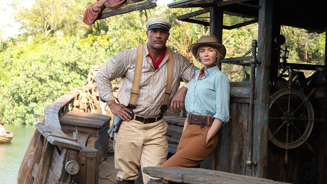 "Frank Wolff (Dwayne Johnson) and Lily Houghton (Emily Blunt) from the Disney movie ""Jungle Cruise""."