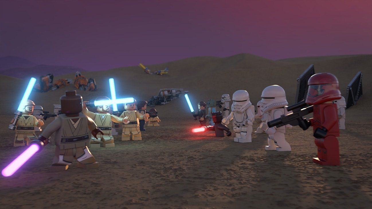 The LEGO Star Wars Holiday Special | Picture of Stormtroopers vs. The Resistance on a battlefield.