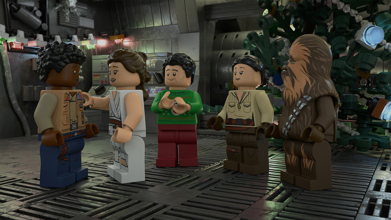 The LEGO Star Wars Holiday Special | Picture of Finn, Rey, Poe Dameron, Rose Tico, and Chewbacca.