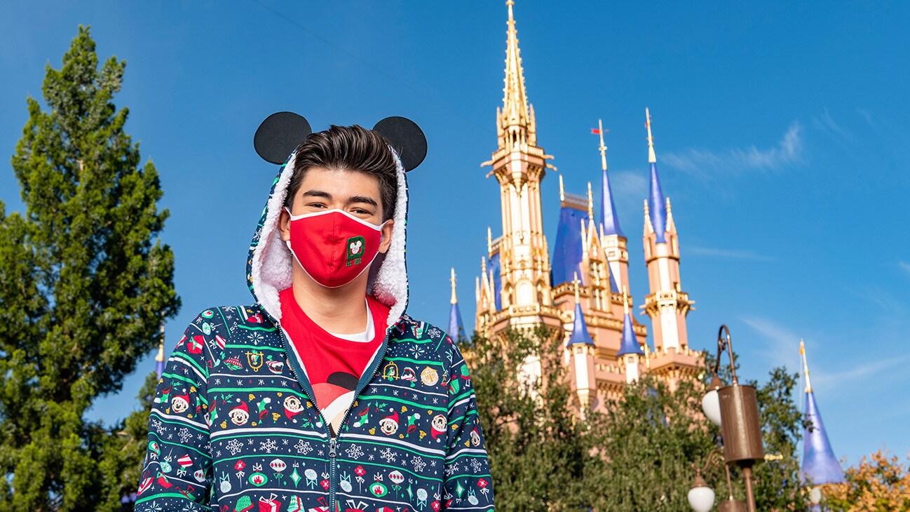 "Master TikTok creator Alex Ojeda gets into the holiday spirit at Magic Kingdom Park at Walt Disney World Resort in Lake Buena Vista, Fla., Thursday, Dec. 3, 2020, during a taping of ""The Disney Parks Magical Christmas Celebration."" The holiday special will air on ABC on Dec. 25, 10am-12pm ET. (Matt Stroshane, photographer)"